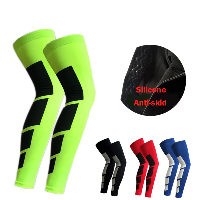 1 Pair Pro Sports Silicone Antiskid Long Knee Support Brace Pad Protector Sport Basketball Leg Sleeve Sports Kneepad 5 Colors