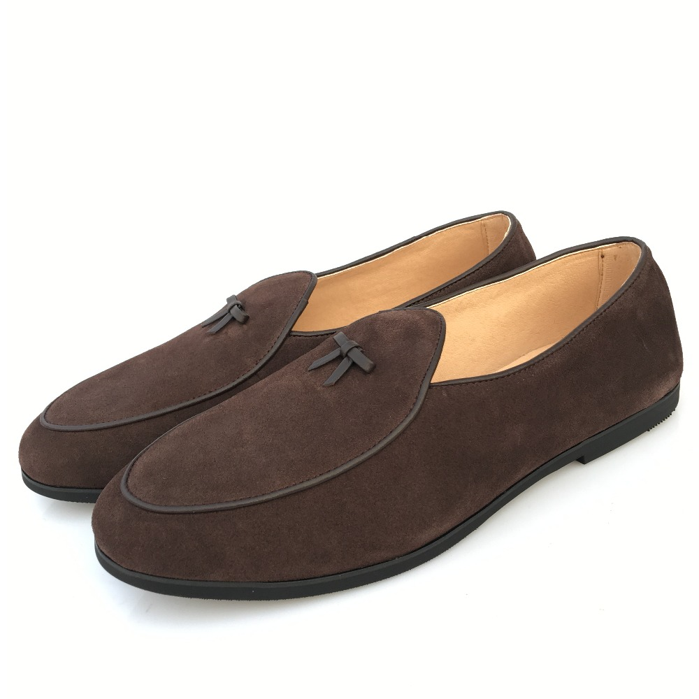 Belgian Dress Mens Leather Slip on Bowtie Business Casual Loafer Formal Shoes SZ