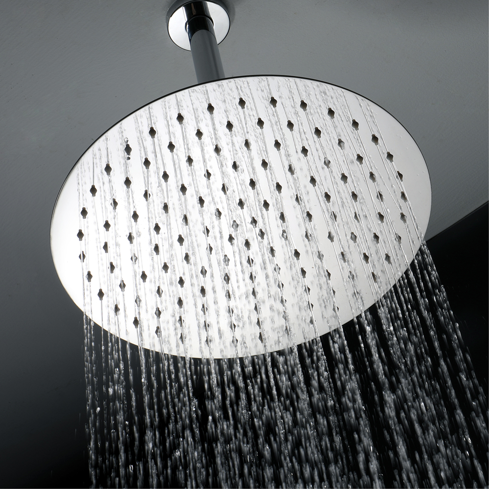 Shower top spray chrome-plated stainless steel 12-inch round ultra-thin shower top spray factory direct HIHSPJ019