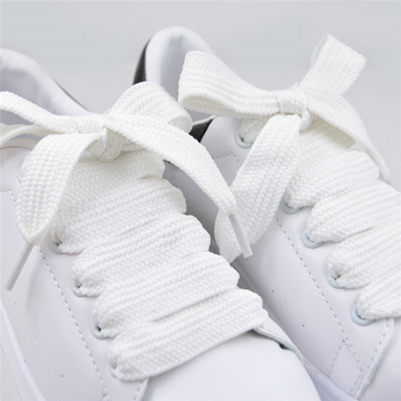 Quality Simple Style 3 Colors Shoe Laces Unisex Polyester Shoelaces 1.5CM Wide Double Layer Shoelace