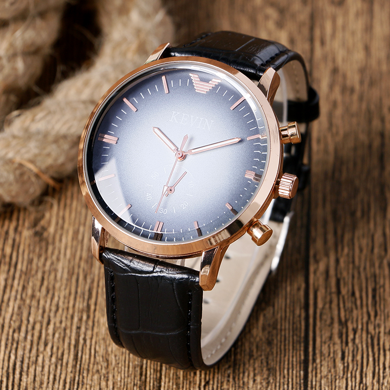 KEVIN Gradual Change Casual Wristwatch Men Dress Quartz Simple Small Seconds Leather Band Women Watches Gray-black Dial Relogio