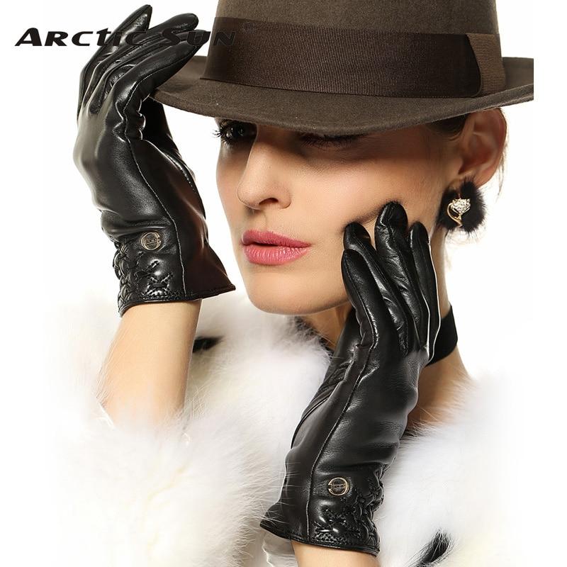 Sale Genuine Leather Gloves Women Top Quality Wrist Goatskin Glove Five Finger Fashion Solid Sheepskin For Driving  EL032PR