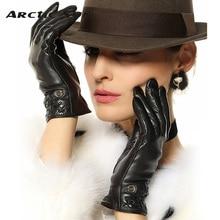 elma new style lady winter warmth Genuine leather gloves top quality women sheepskin fashion wrist