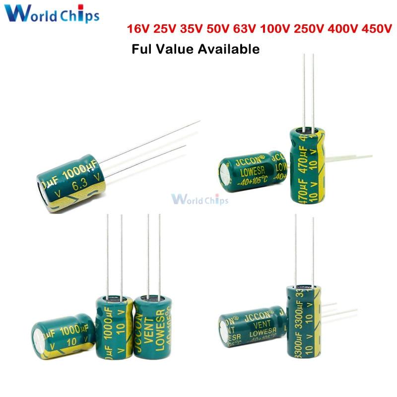 Aluminum Electrolytic Capacitor 6.3V 10V 16V 25V 35V 63V 100V 250v 400V 47UF 100UF 220UF 330UF 470UF 680UF 1000UF 1500UF 2200UF