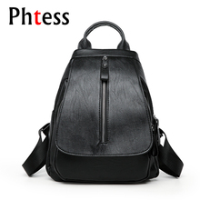 2018 Women Leather Backpack Travel Ladies Softback Sac a Dos Shcool Bags For Teenagers Female Shoulder Bags Mochilas Back Pack