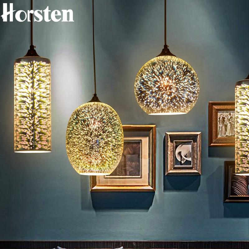 Horsen Modern 3D Colorful Lampshade Glass <font><b>Pendant</b></font> Lights Novelty Bar Restaurant <font><b>Pendant</b></font> Lamp E27 110-240V Suspended Luminaire