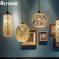 Horsen Modern 3D Colorful Lampshade Glass Pendant Lights Novelty Bar Restaurant Pendant Lamp E27 110 240V
