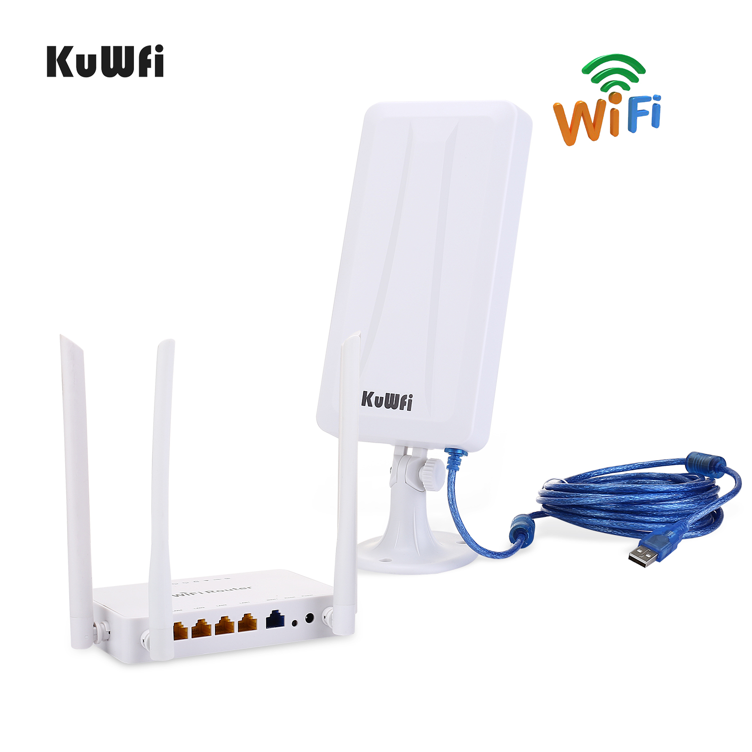 Image 2 - High power wireless Openwrt  Wireless router with 4pcs 7dbi antenna,high power wireless Adapter with 14dbi antenna&5M USB cable-in Wireless Routers from Computer & Office