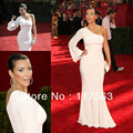Free shipping Emmy awards gossip girl kim kardashian red carpet show mermaid one shoulder long sleeve celebrity dress CD015