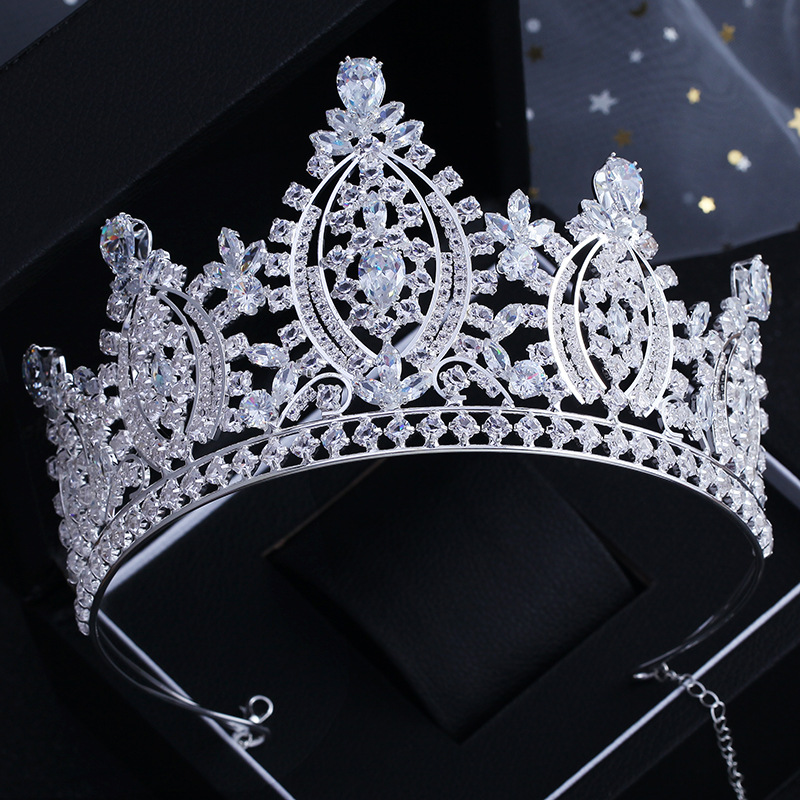 Exquisite Sparkling Zircon Bride Wedding Tiaras Headpieces CZ Bridal Big Crowns Hairband Wedding Hair Accessories Princess Crown himstory luxury sparkling cz flower bridal tiaras crown hair accessories big diadem crowns for women girls wedding party holiday