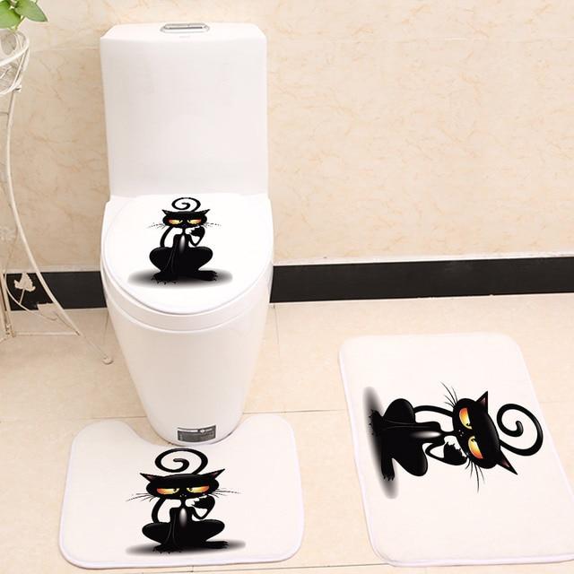 Miracille 3 pz/set Carino Black Cat Modello Bagno Toilet Seat Cover di Corallo del panno morbido Zerbino Tappeti Da Cucina antiscivolo Decorazioni per la Casa