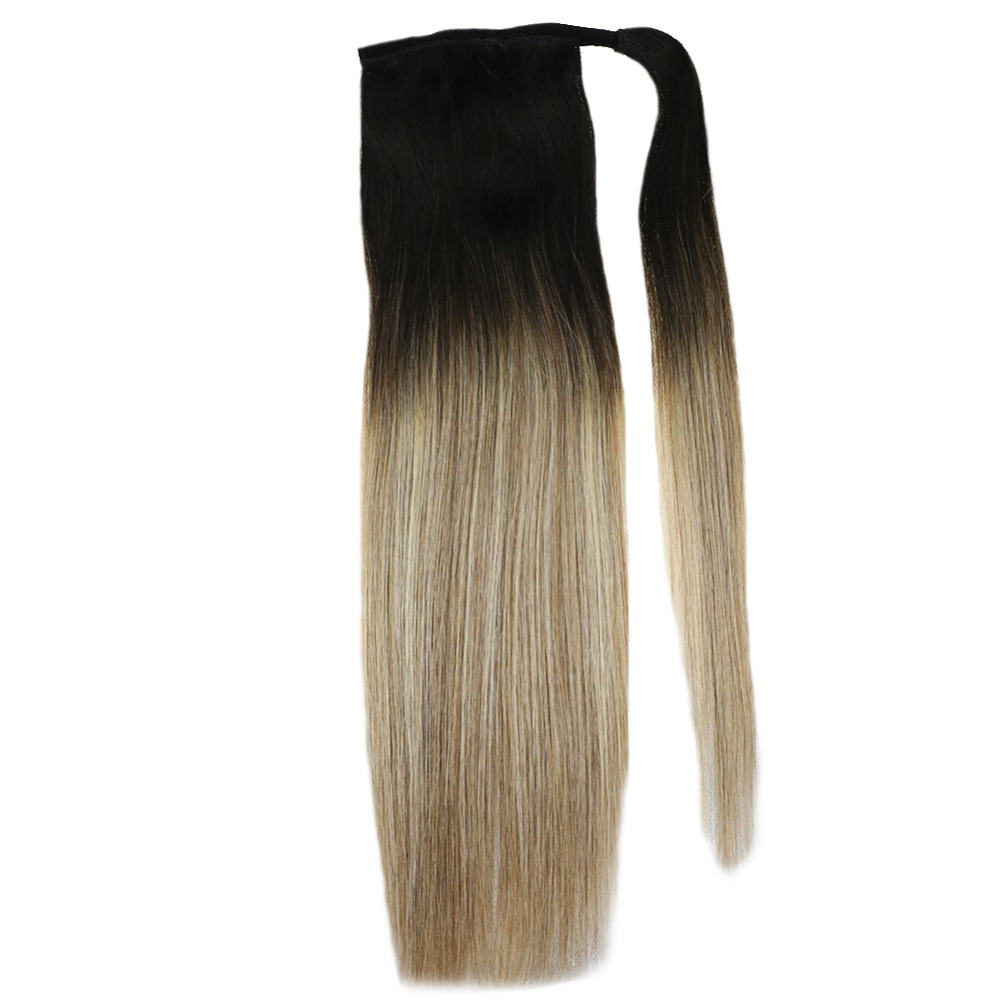 Full Shine Ponytail Extensions Clip In Ponytails 80g 100% Remy Hair Wrap Around Ponytail For White Women Straight Hair Extension(China)