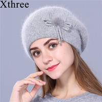 Xthree Winter Beret Hat For Women Knitted Hat Rabbit Fur Beret For Girl Solid Colors Fashion