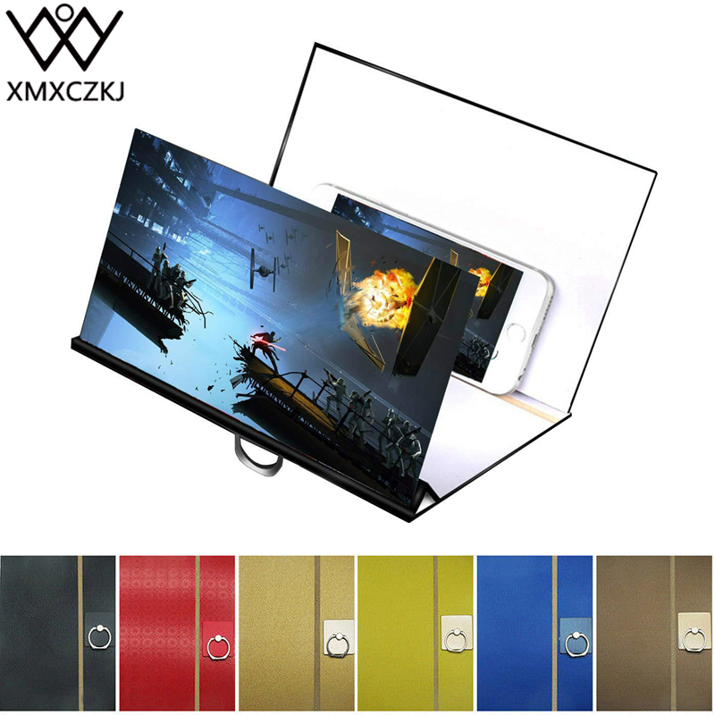 XMXCZKJ Mobile Cell Phone Screen Magnifier 3D Video Amplifier Stand For Folding Enlarged Expander Smartphone Display Holder Car