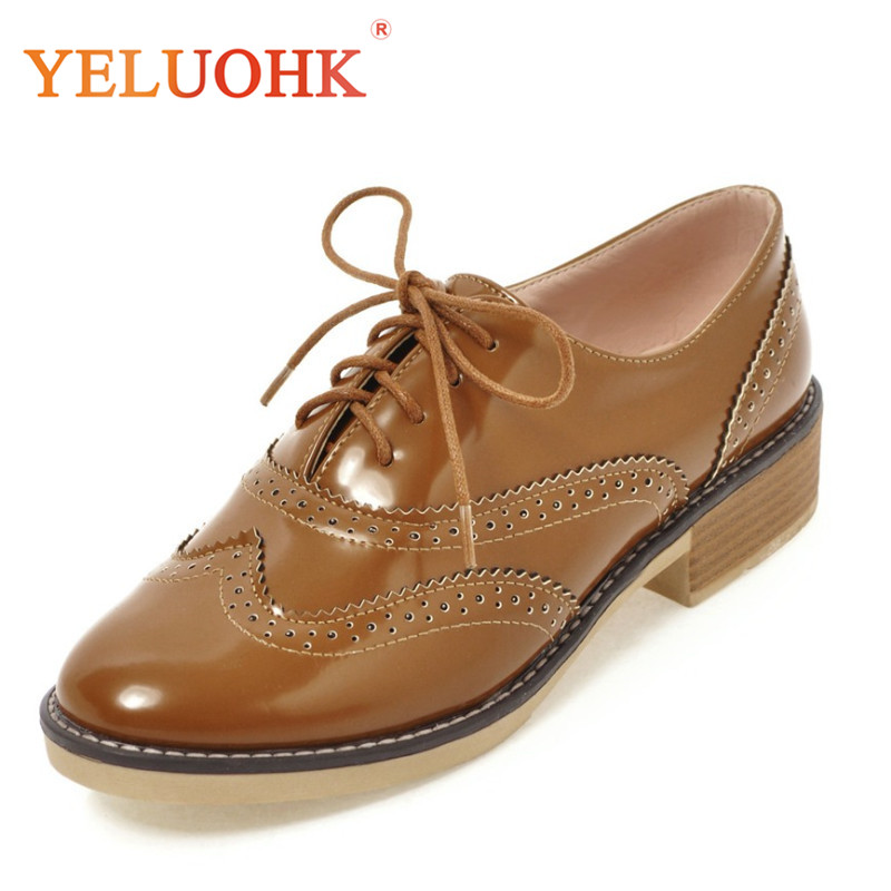 34-43 Oxfords Shoes For Women Patent Leather Flat Shoes Women 2018 Spring Women Flats Big Size new round toe slip on women loafers fashion bow patent leather women flat shoes ladies casual flats big size 34 43 women oxfords