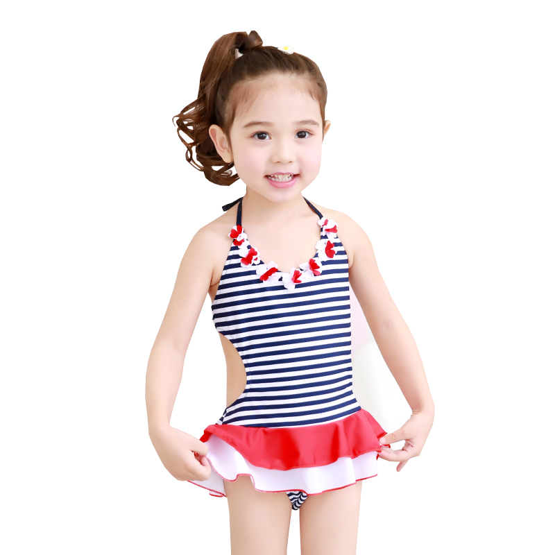 0-9 Years Cute Baby Little Girls Swimwear One Piece Striped Swimsuit Beachwear