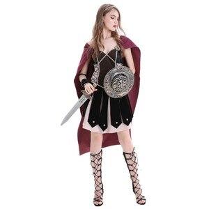 Image 3 - Volwassen Vrouwen Middeleeuwse Rome Zina Warrior Princess Kostuum Halloween Carnaval Party Cosplay Romeinse Sparta Gladiator Jurk