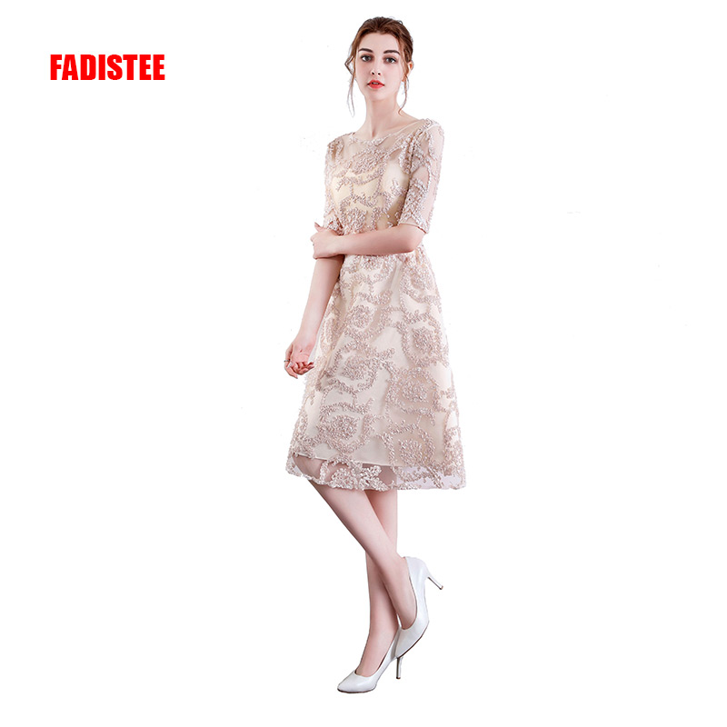 FADISTEE New arrival elegant party   dress     cocktail   Vestido de Festa scoop neck Zipper pattern A-line short style frock