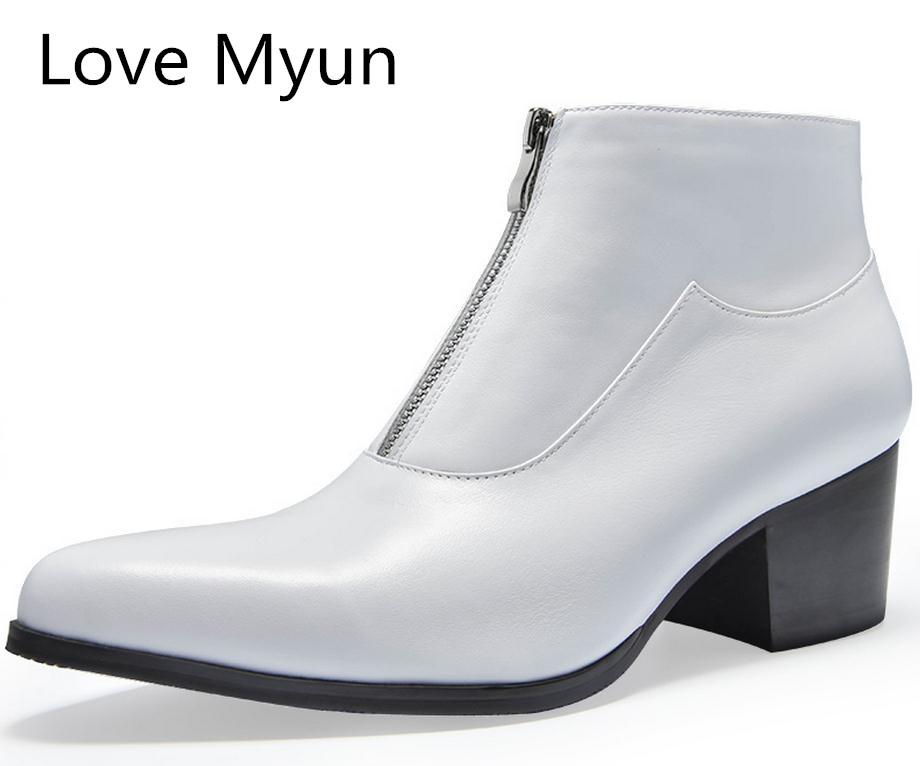 Ayakk.'ten Çalışma ve Güvenlik Botları'de Sonbahar kış moda erkek hakiki deri çizmeler yüksek topuklu siyah beyaz iş elbise ayakkabı erkekler kariyer iş yarım çizmeler 36 44'da  Grup 1