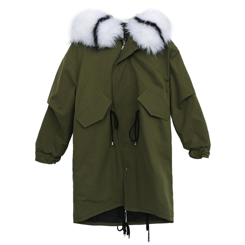 New Fashion Winter Women Korean   Parka   Coats Women's Fur Collar Hooded Outwear Army Green Plus size Down cotton jacket 4XL A1069