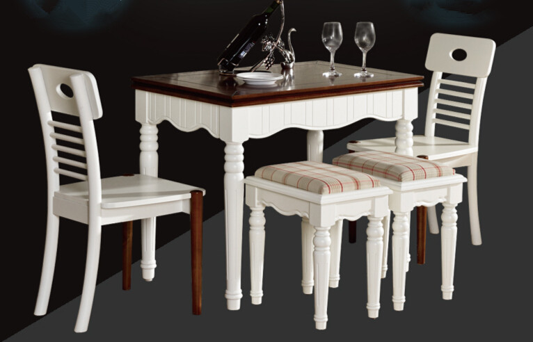 Modern Furniture 5pcs Dining Room Set Extendable Table Chair Stool Solid Wood White Finish Elegant Wooden