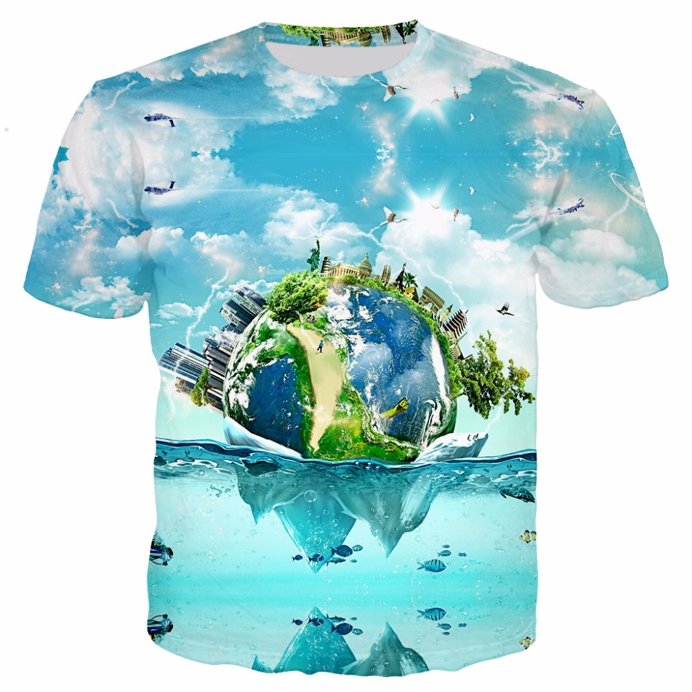 ca8e8db1b3ba YX GIRL Buddha image  Earth Water Droplets 3D Print T Shirt Men Women Funny  Creative Tops Summer t shirts Plus size S 5XL-in T-Shirts from Men s  Clothing on ...