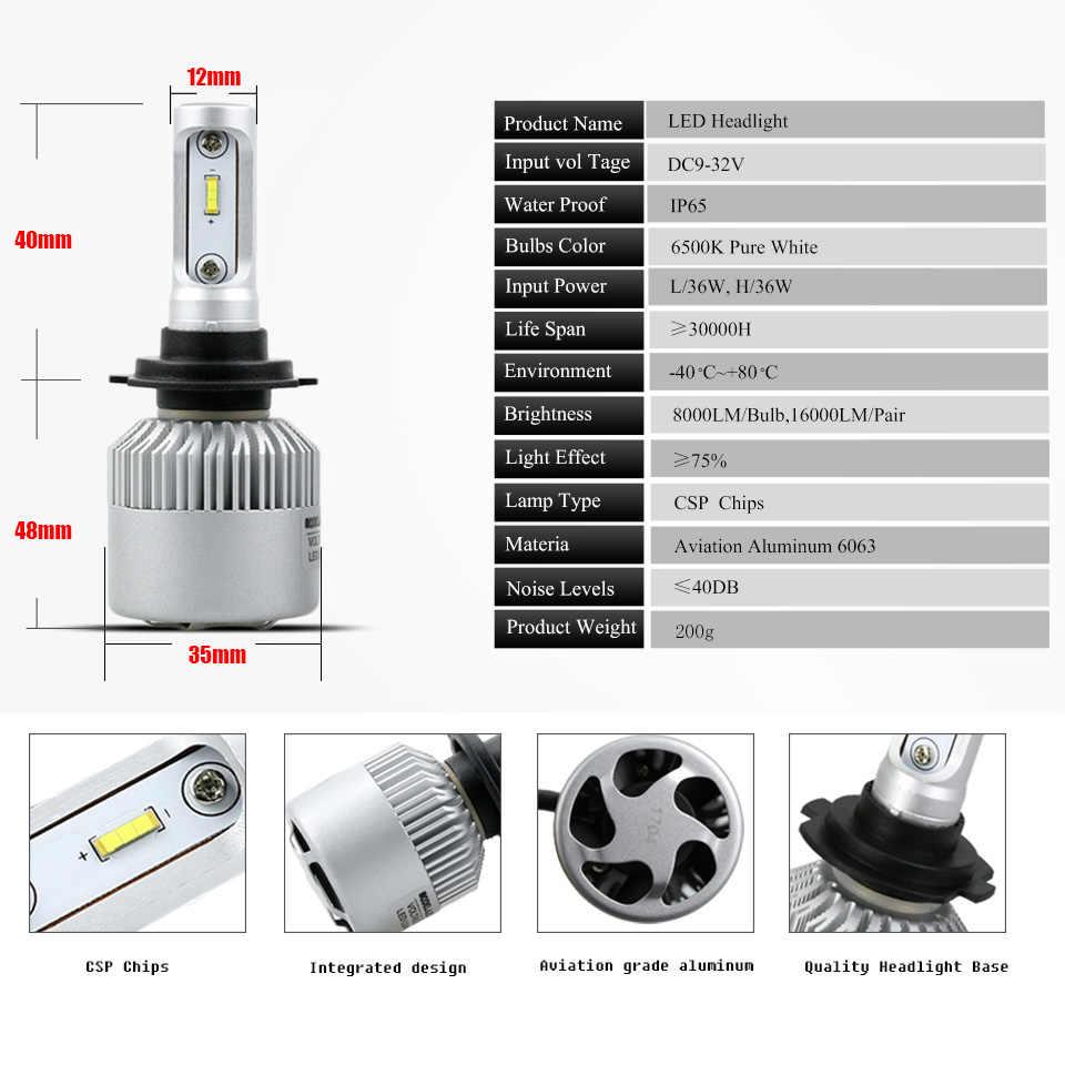 ANMINGPU 16000lm/זוג 72 w Led H7 פנס נורות H3 H1 H4 Led הנורה 9005/HB3 9006/ HB4 H8 H11 Led ערפל אור CSP 12 v אוטומטי פנס