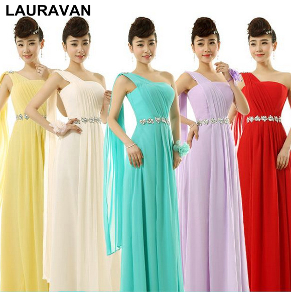 f364178d2bd turquoise green bride maid yellow red chiffon one shoulder bridesmaid  dresses red bridesmaids dress for weddings free shipping