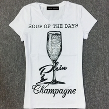 Recreational cotton T-shirt printed set auger round collar goblet pattern with short sleeves
