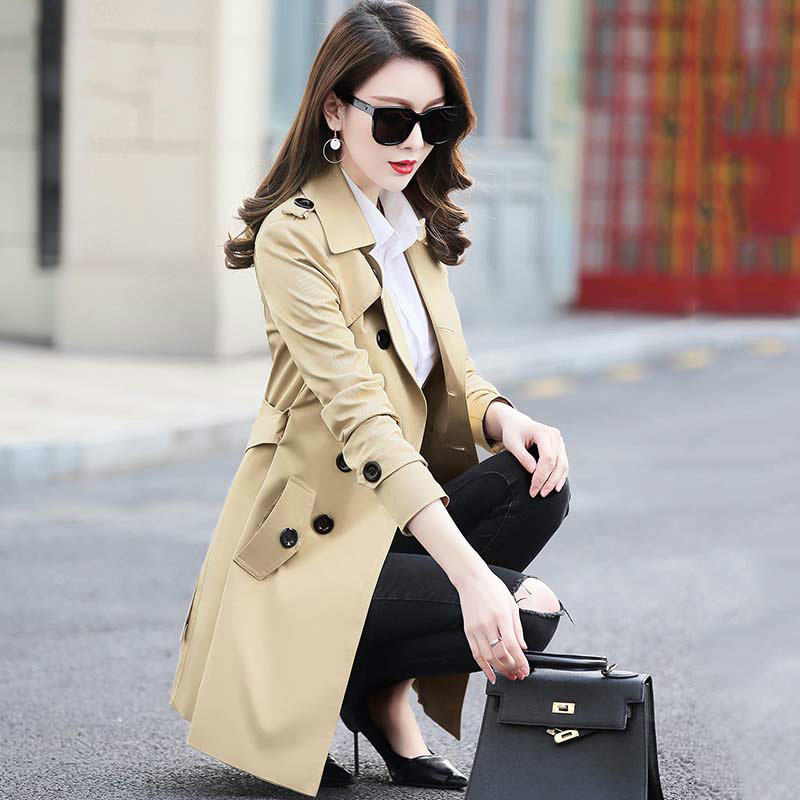 Autumn Winter Women Double Breasted   Trench   Coats Medium Long Slim Waterproof Raincoat Business Outerwear Plus Size 5XL RE2276