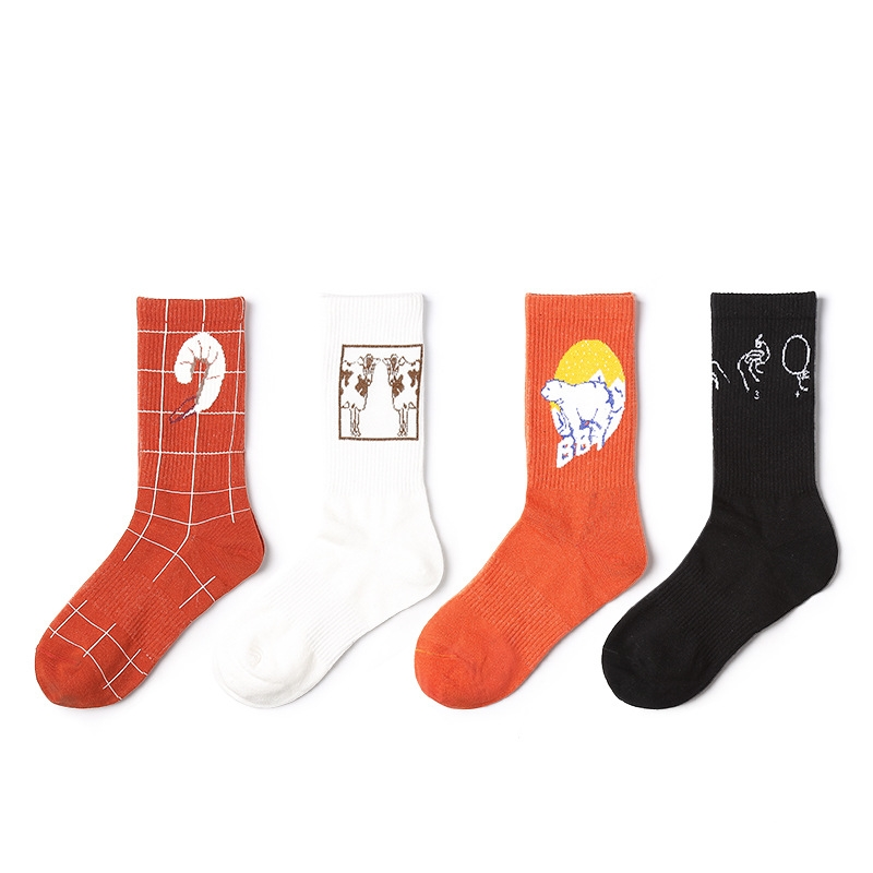 2018 New Autumn Women's   Socks   1 Pair Long Cotton Cartoon Women Fashion Unisex Happy Casual breathable   Socks   High Quality For Men