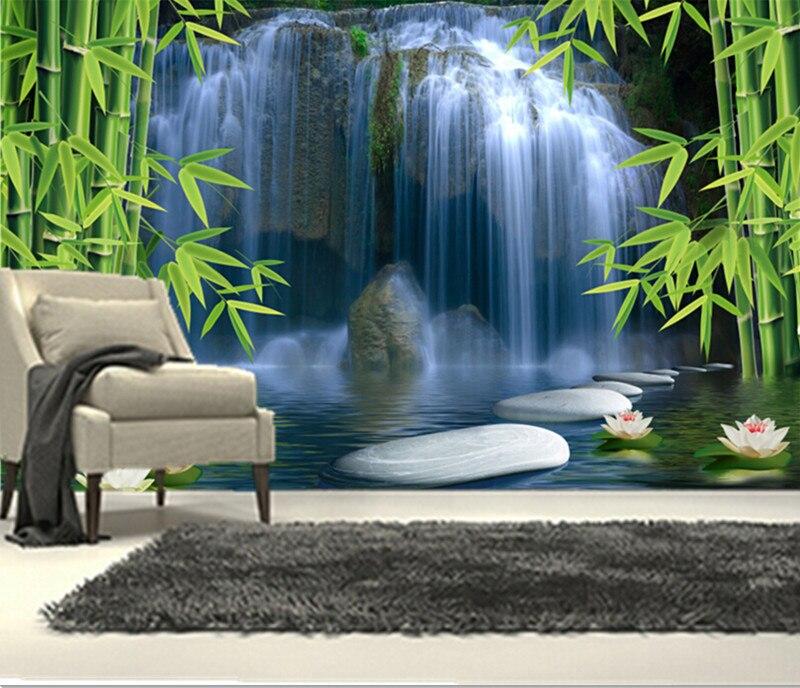 Пользовательские 3D фрески, китайский пейзаж, Lotus водопад бамбука Papel де Parede, гостиная диван ТВ стены спальне обои