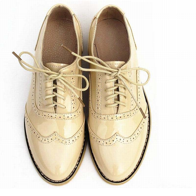Fashion British Vintage Women Luxury Genuine Leather Oxfords Shoes Ladies Handmade Comfortable Flats Lace-up Shoe Big Size 34-44 big size 34 43 solid patent leather women oxfords british new fashion platform flats casual buckle strap ladies shoes woman hh88