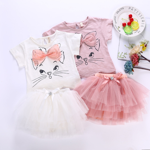 422bcabd US $14.08 29% OFF|Baby Girls Short Sleeve Shirt and Tutu Skirt 2 Pcs  Clothing Suit Cat Printed Cute Kids Baby Summer Clothes Set-in Clothing  Sets from ...