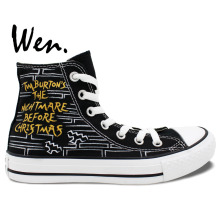 Wen Design Custom Hand Painted Shoes Nightmare Before Christmas Man Woman High Top Canvas Sneakers for Christmas Gifts