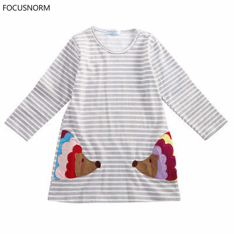 FOCUSNORM elegante Niños Niñas Ropa cumpleaños Regalos fiesta camisa de manga larga A-line rayado vestido de algodón 2 3 4 5 6 7 años