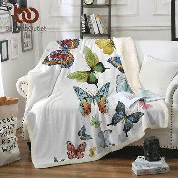 Manta para cama de felpa de mariposa para niños adultos 150x200