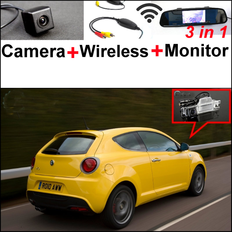 Wireless Receiver + 3in1 Special WiFi Camera + Mirror Monitor EASY DIY Parking System For Alfa Romeo MiTo AR Furiosa 2007~Onwork wireless pager system 433 92mhz wireless restaurant table buzzer with monitor and watch receiver 3 display 42 call button