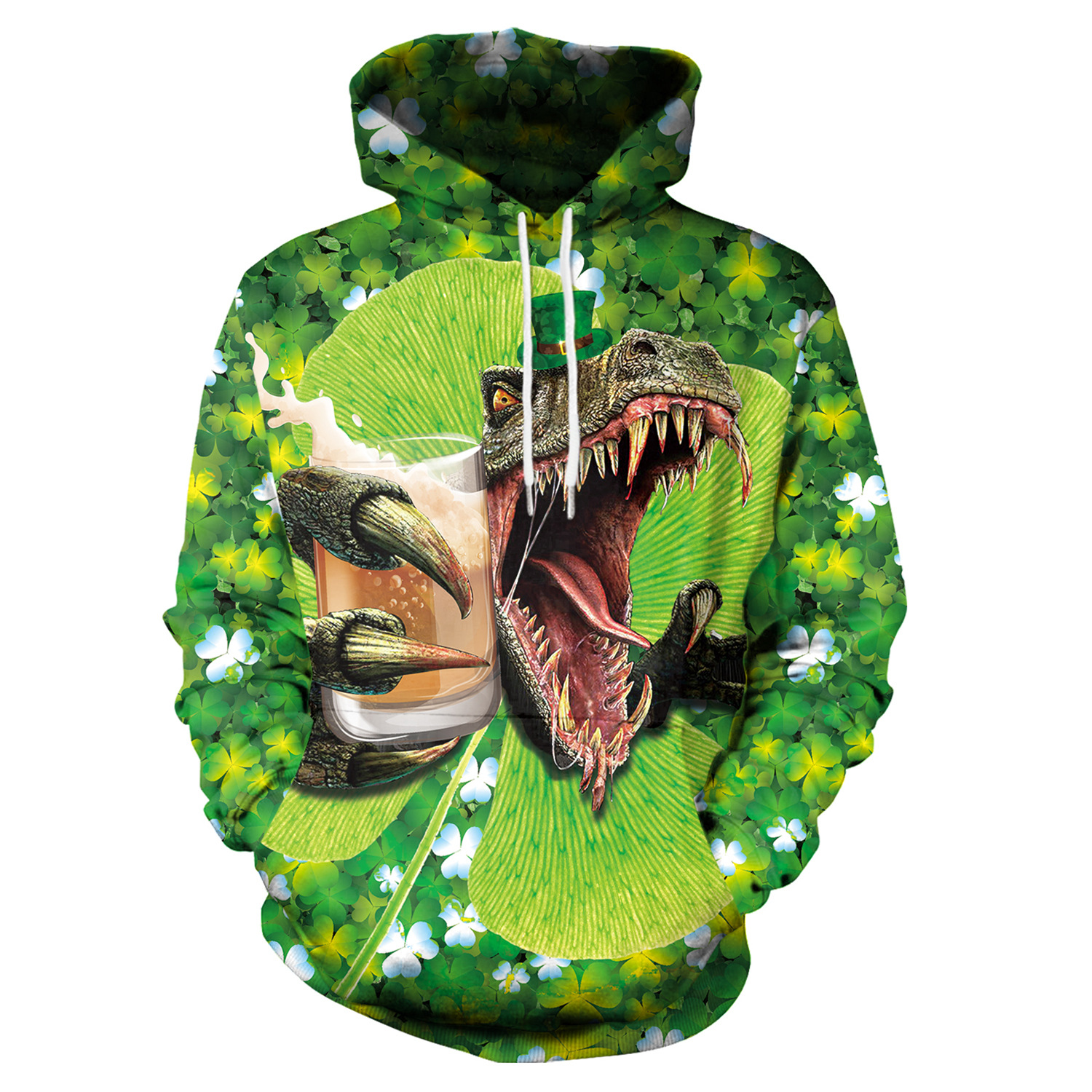 St Patrick's Day Green Tyrannosaurus Rex Print Hoodies Men Hoodie with Hat Round Neck Loose Sweatshirt Pullover Streetwear