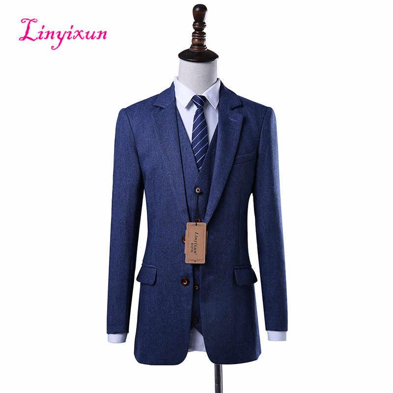 Linyixun 2018 Tweed hecho a medida espiguilla hombres traje Blazers Retro a medida trajes de boda para hombres 3 piezas chaqueta + chaleco + Pantalones