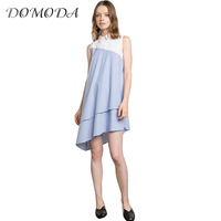 DOMODA Apparel Chic Elegant Preppy Mini Dress Women Clothing Asymmetrical Patchwork Sleeveless Dress Cute Female Summer Vestido