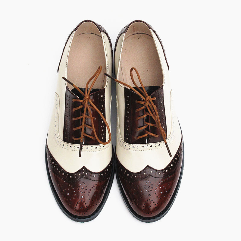 Vintage Style Casual Shoes For Women Oxfords Fashion Genuine Leather Mixed Colors Women s Shoes Flat