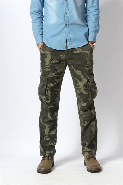 Mens Plus Tamaño Bolsillo Multi Al Aire Libre Táctico Militar de Camuflaje Pantalones Casuales Hombres Camo Trajes de Pantalón