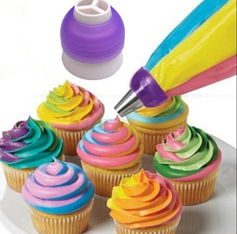 Icing Equipment Cake Decorating Tesco : Icing Piping Bag Nozzle Converter Tri color Cream Coupler ...