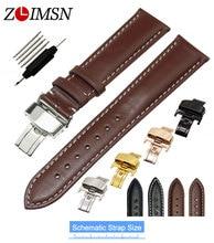 ZLIMSN Lisse Véritable Bracelet En Cuir Remplacement pour Tissot 18 20 22 24mm Papillon Boucle Déployante Noir Brun Montre Bracelet