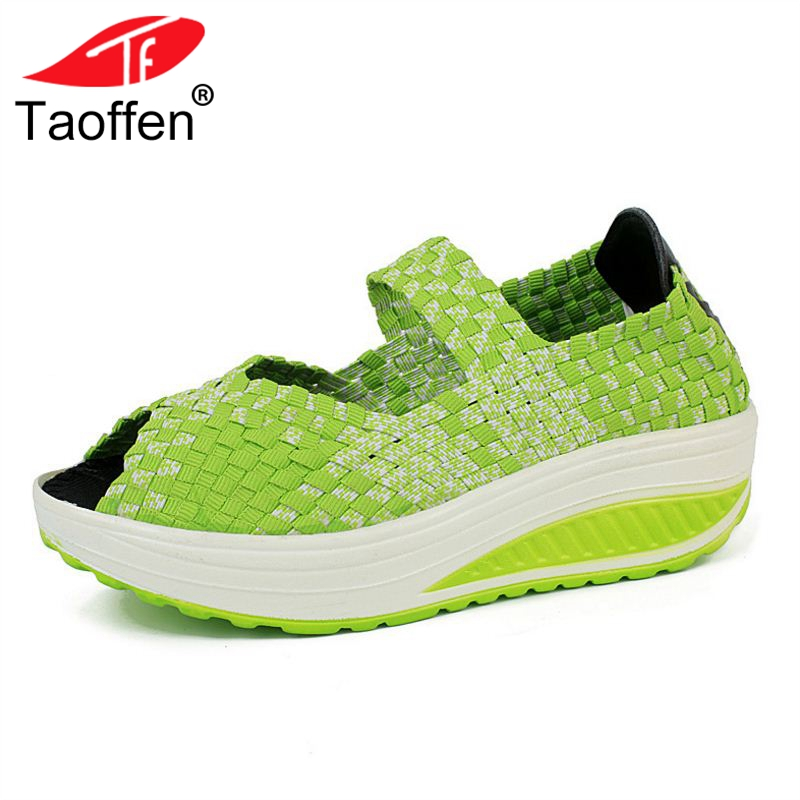 TAOFFEN Women Flats Shoes Thick Bottom Summer Knitted Lady Shoes Light Candy Color Sneakers Classic Footwear Size 35-40