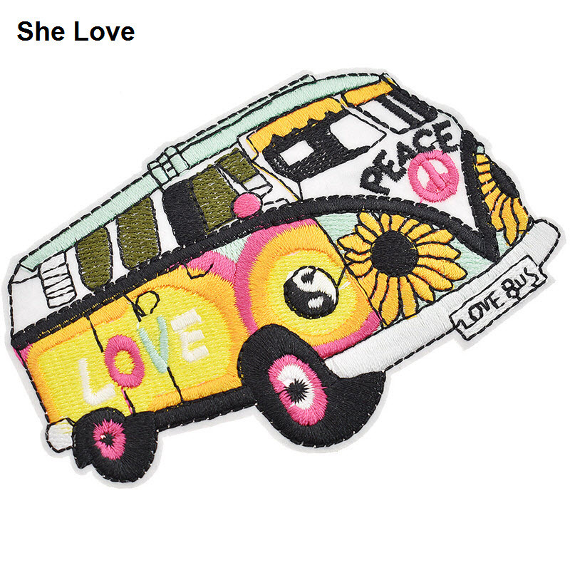 She Love 2Pcs/lot Colorful Peace Love <font><b>Bus</b></font> Embroidery <font><b>Patch</b></font> 10.5x7cm Sewing Iron On Cartoon <font><b>Patches</b></font> For Clothing Sticker Diy image