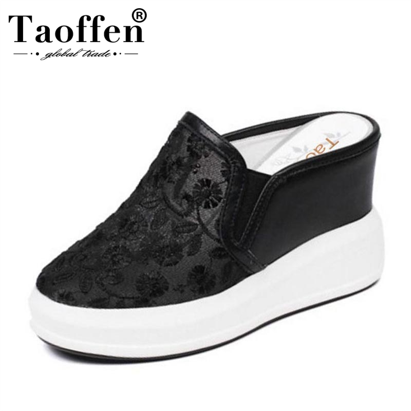 TAOFFEN Elegant Women Real Genuine Leather Wedges Sandals Lace Elastic Patchwork Wedges Slipper Summer Women Shoe