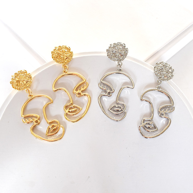 Timlee E282 New Contracted Retro Punk Abstract Face Outline Geometry Alloy Drop Earrings Personality Accessories Wholesale