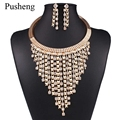 Pusheng Exaggerated Statement Tassel Pendants Maxi Necklaces Crystal Chain Luxury Gold Plated Choker Collares Collier Femme
